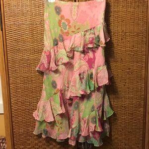 Ralph Lauren pink/green silk skirt NWT size M